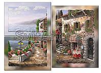 """Схема для вышивки бисером на подрамнике триптиха """"Городок на побережье"""""""
