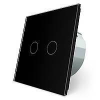 Сенсорный выключатель Livolo 2 канала черный стекло (VL-C702-12), фото 1