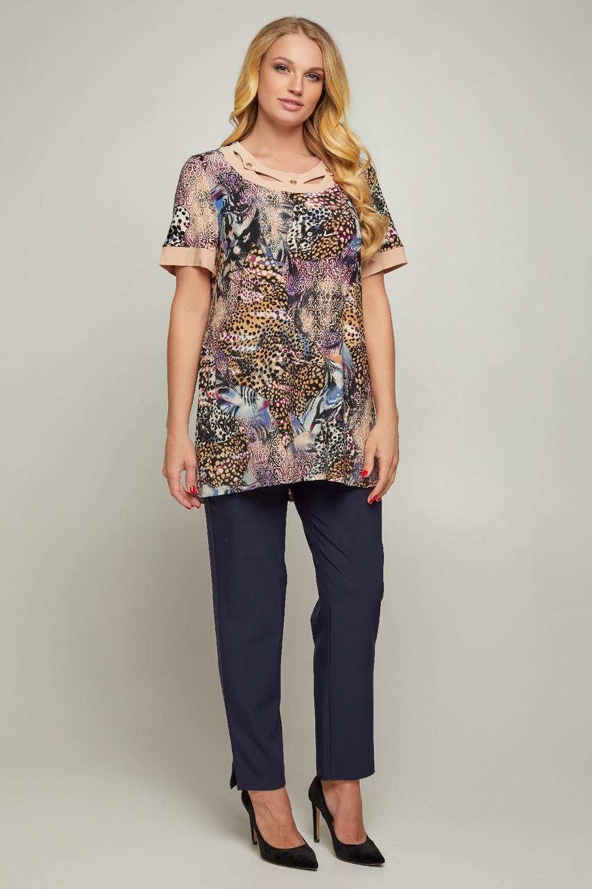 Женская блуза Марго с цветочным принтом больших размеров 56-66