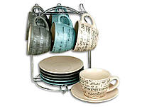 Сервиз чайный ELINA EL-2146 12 предметов чашка 200 мл на подставке (462838)