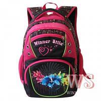 Рюкзаки для девочек Winner Stile 34*15*40 (чёрный с кошкой, чёрный с цветами, сиреневый)