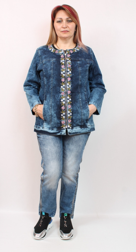Турецкий женский джинсовый пиджак с оригинальным декором, большие размеры 50-60