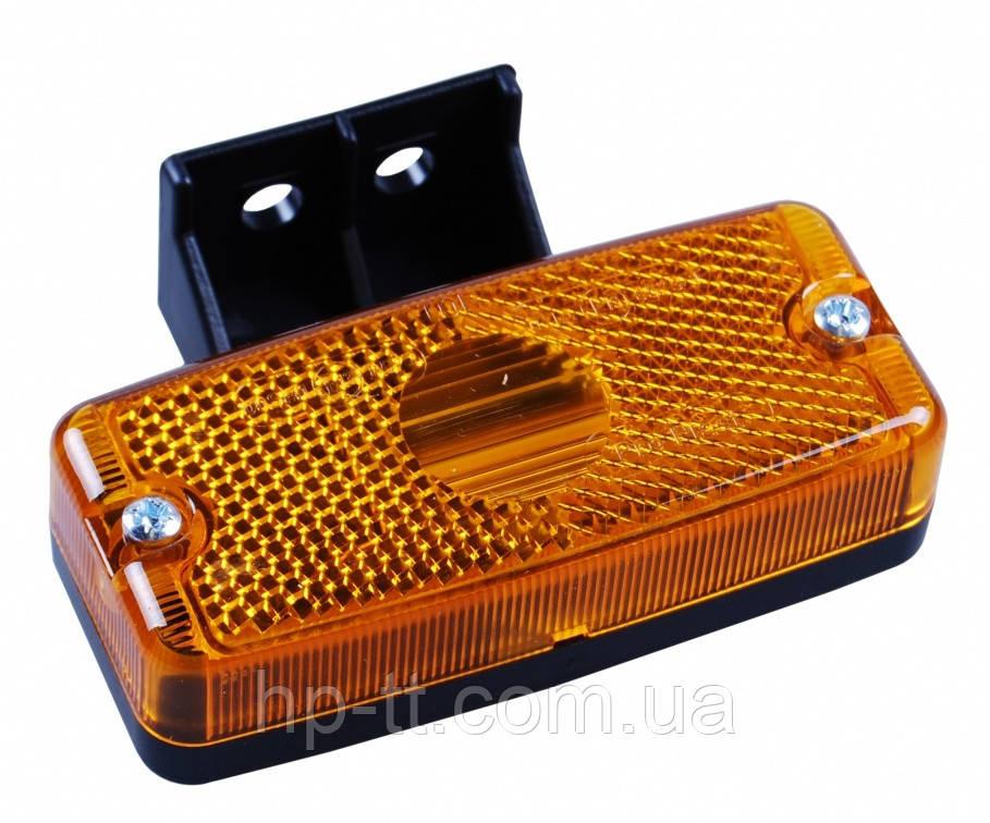 Боковой оранжевый контурно-габаритный фонарь с отражателем на пластиковом кронштейне Jokon 10413