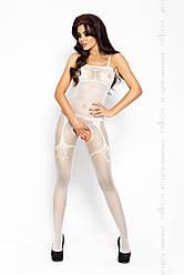 Бодистокинг Passion BS006 white, комбинезон, имитация чулок и пояса