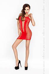 Бодистокинг Passion BS027 red, платье-сетка на бретелях, очень откровенное