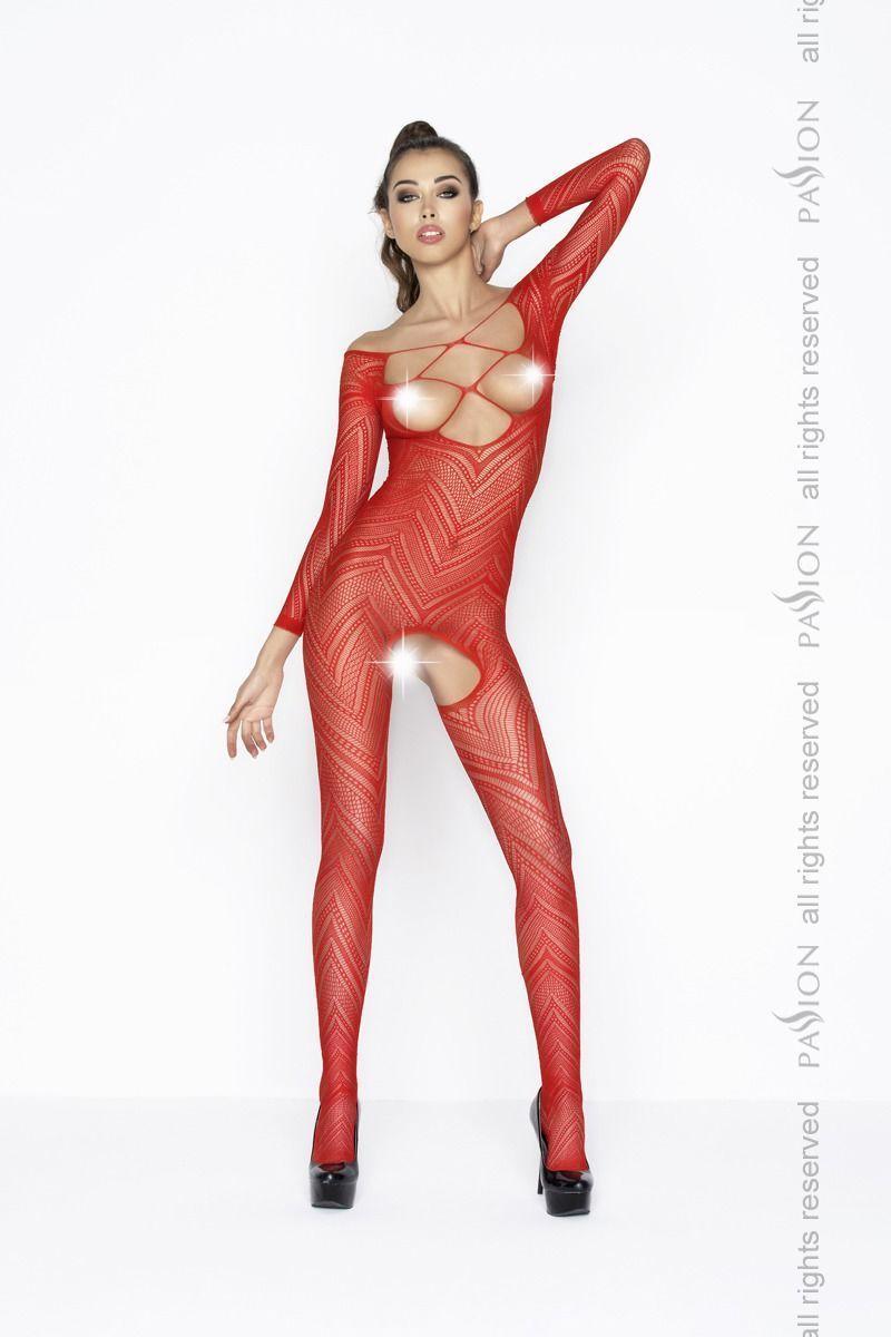 Бодистокинг Passion BS040 red, комбинезон с открытой грудью