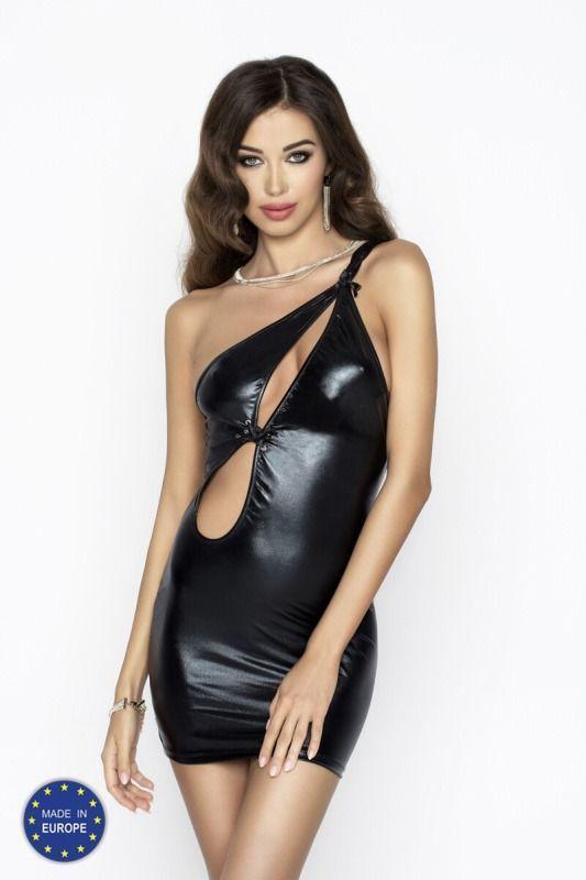 Платье под латекс с вырезом CORNELIA DRESS black S/M - Passion