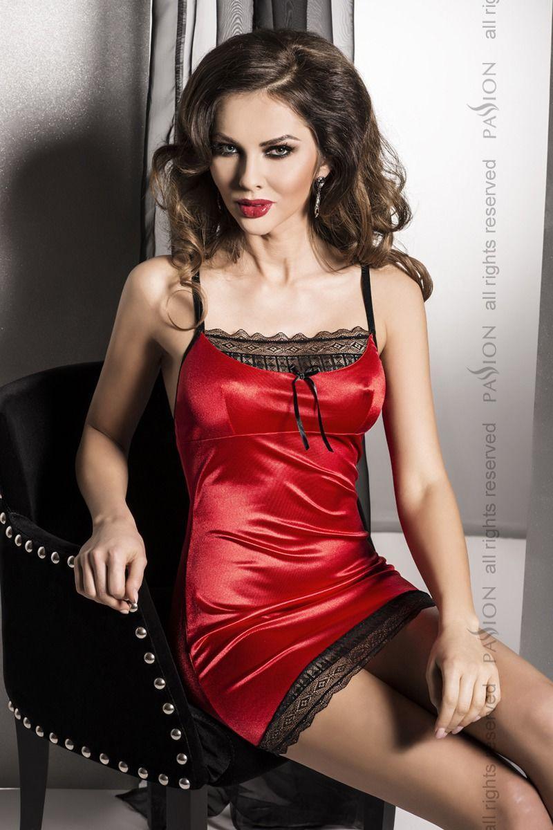 (SALE) Сорочка приталенная EVANE CHEMISE red S/M - Passion Exclusive, трусики, с кружевом