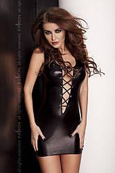 Платье под латекс с глубоким декольте LIZZY DRESS black S/M - Passion Exclusive со шнуровкой