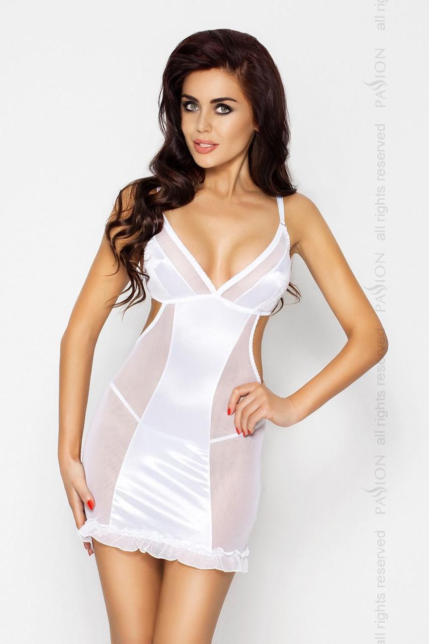Сорочка приталенная с чашечками WILMA CHEMISE white S/M - Passion, трусики