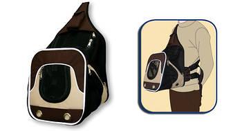 Рюкзак-лежак  для животного Fast&Easy,  удобно для выставок, корчневый/беж, 30х33х26см, до 10кг
