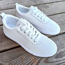 ПОСЛЕДНИЕ РАЗМЕРЫ 36, 39 Белые кроссовки эко - кожа текстиль мокасины легкие летние дышащие перфорация, фото 3
