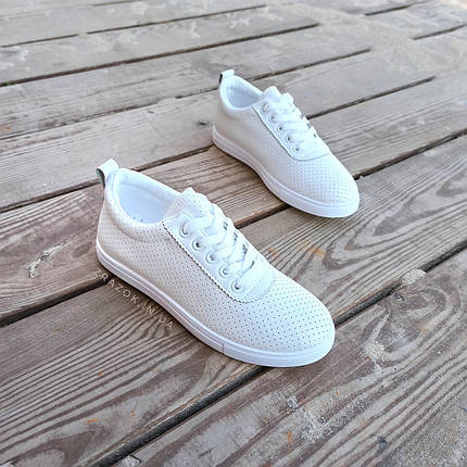 ПОСЛЕДНИЕ РАЗМЕРЫ 36, 39 Белые кроссовки эко - кожа текстиль мокасины легкие летние дышащие перфорация, фото 2