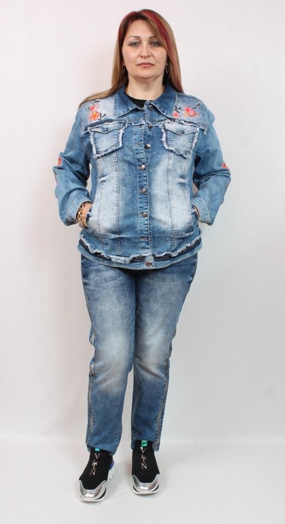 Турецкий джинсовый женский жакет с оригинальным декором, размеры 50-56