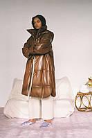 Длинный кожаный пуховик женский