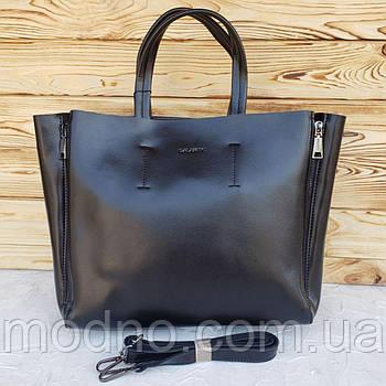 Жіноча шкіряна сумка чорного кольору Galanty