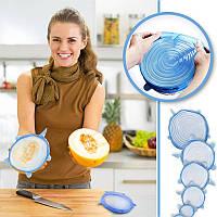 Набор многоразовых силиконовых крышек для посуды 6 штук белые Super Stretch SILICONE Lids