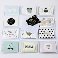 Дизайнерская мини открытка С КОНВЕРТОМ 497-1 (0301), МИКС расцветок, 95*65мм. Продажа кратно 36 шт!