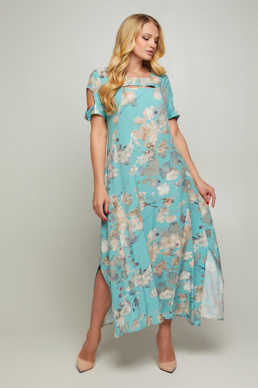 Женское длинное платье Сакура с цветочным принтом большого размера 50-56