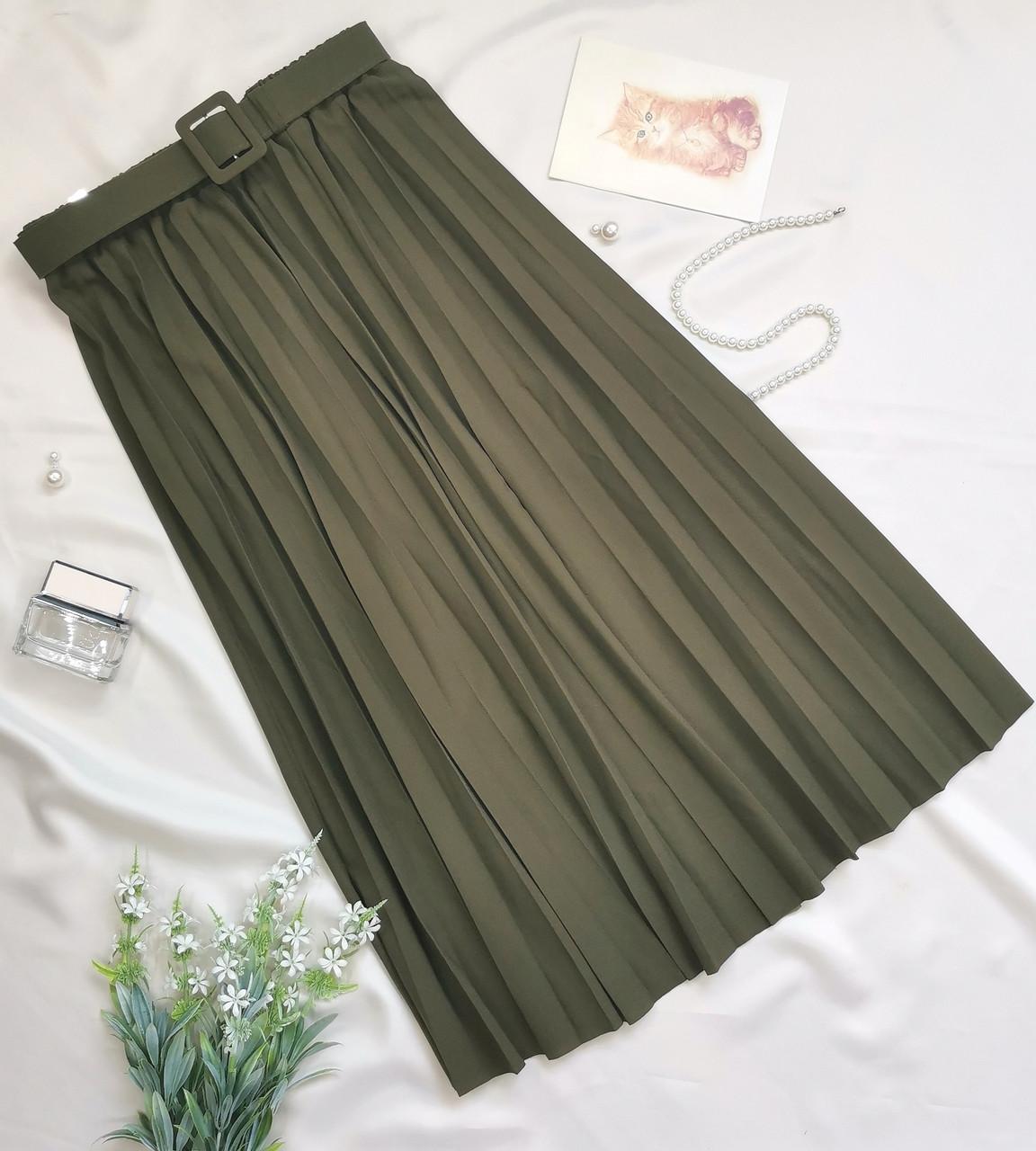 Женская юбка плиссе хаки