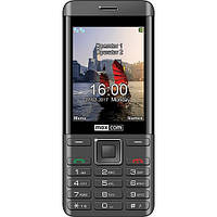 Кнопочный телефон с большим экраном, блютузом и фонариком на 2 sim Maxcom MM236 Black-SIlver
