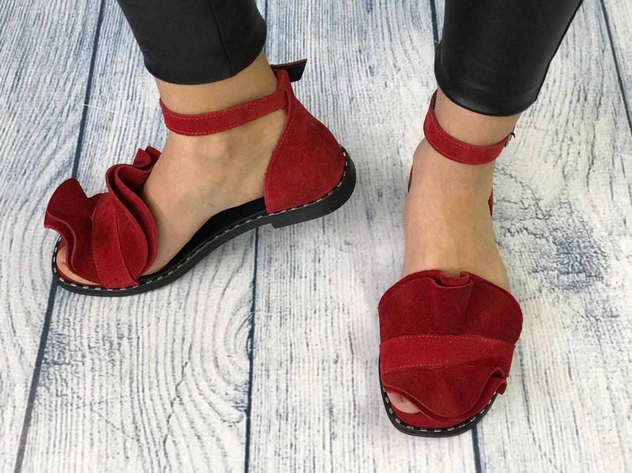 Замшевые босоножки 1 см каблук, кожа или замша пошив с рюшечкой размеры 36-41