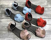 Замшевые босоножки 1 см каблук, кожа или замша пошив с рюшечкой размеры 36-41, фото 2