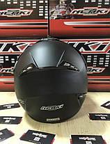 Черный матовый эндуро мото шлем с визором, фото 3
