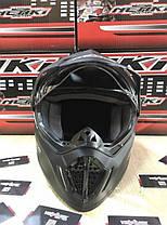 Черный матовый эндуро мото шлем с визором, фото 2