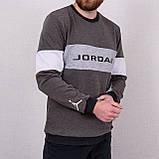 Світшот чоловічий з написом Jordan сірого кольору, фото 2