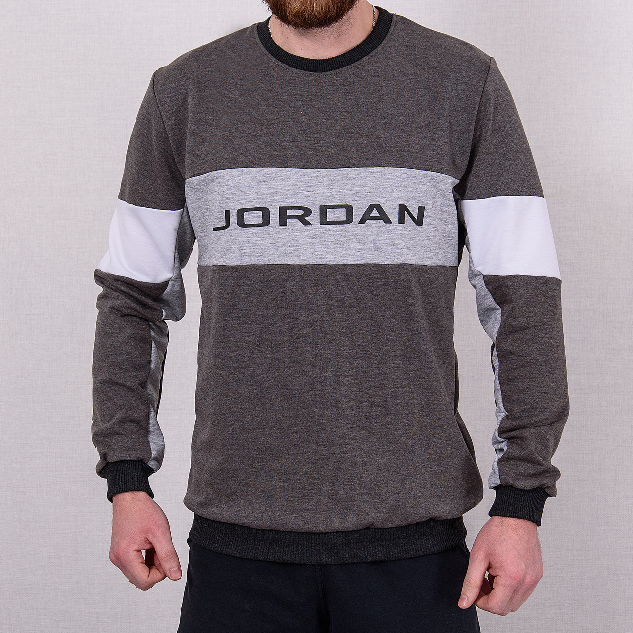 Світшот чоловічий з написом Jordan сірого кольору