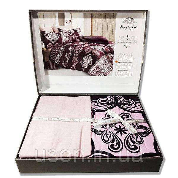 Комплект постельного белья  Nazenin сатин  евро размер Charme gul curuzu