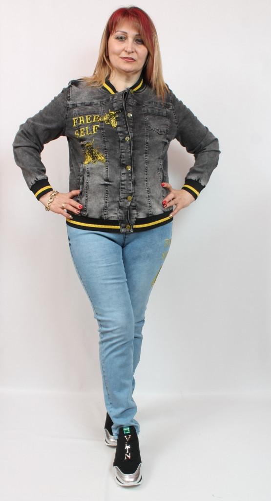 Турецкий джинсовый женский жакет с контрастной отделкой, размеры 50-58