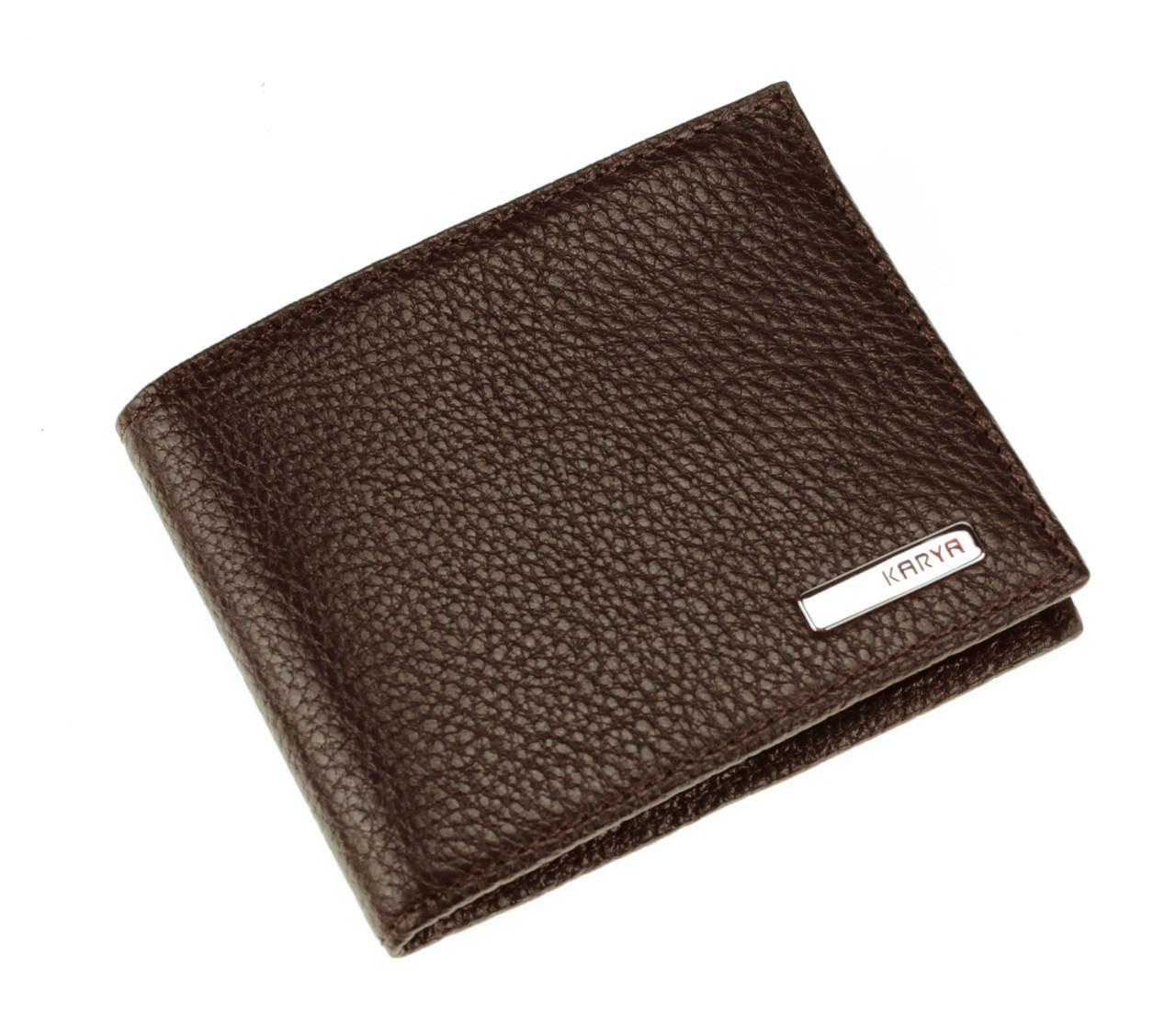 Маленький чоловічий гаманець Karya 0905-39 шкіряний коричневий