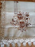 Скатерть искуственный лен 220х150 с вышивкой розы