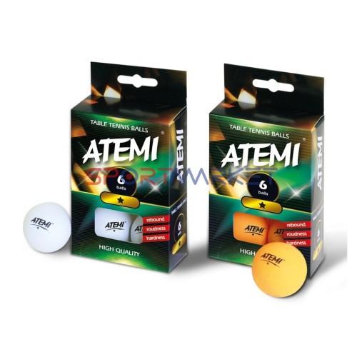 Кульки настільний теніс Atemi (1 зірка) білі в упаковці 6шт. Ціна за 1 штуку