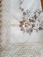 Скатерть искуственный лен 220х150 с вышивкой и кружевом