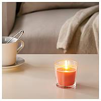 Свеча ароматическая ИКЕА в стекле, Персик и апельсин, оранжевый, 7.5 см