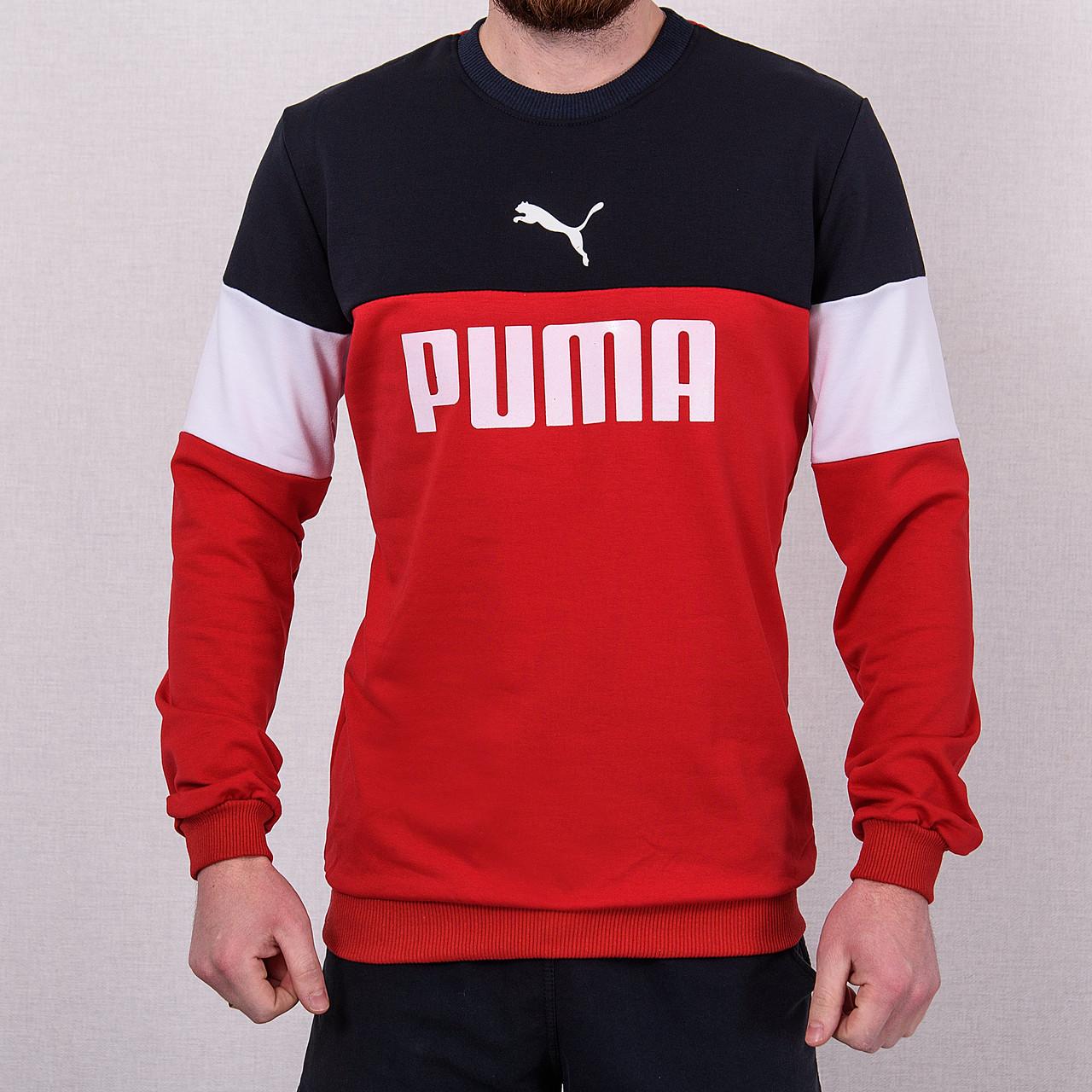 Свитшот мужской с надписью Puma красного цвета