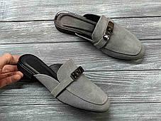 Замшевые сабо мюли 1 см каблук, кожа или замша пошив размеры 36-41, фото 2