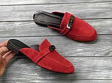 Замшевые сабо мюли 1 см каблук, кожа или замша пошив размеры 36-41, фото 3