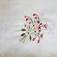 Скатерть выбеленный лен  с вышивкой  220х150