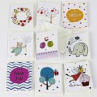 Дизайнерская мини открытка С КОНВЕРТОМ 497-4 (0301), МИКС расцветок, 85*75мм. Продажа кратно 60 шт!