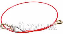 Страховочный трос 1000мм, с крючком, красный, с ПВХ покрытием AL-KO