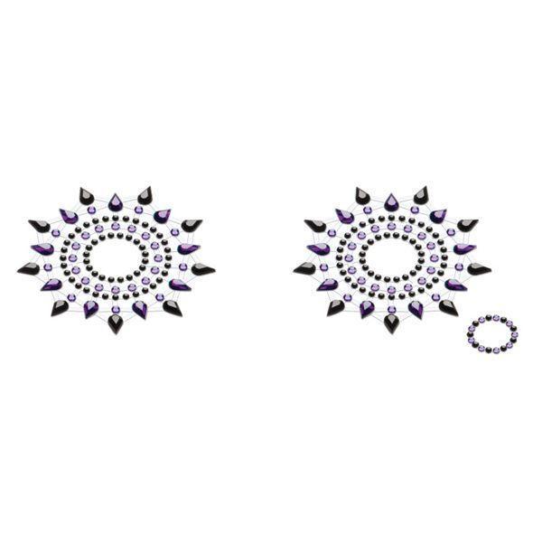 Пэстис из кристаллов Petits Joujoux Gloria set of 2 - Black/Purple, украшение на грудь