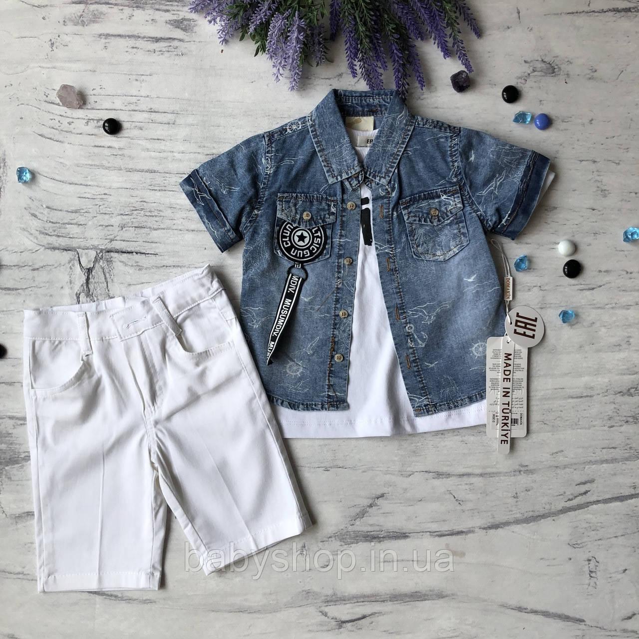 Летний джинсовый костюм на мальчика 28. Размер 1 год (86 cм), 2 года, 3 года, 4 года
