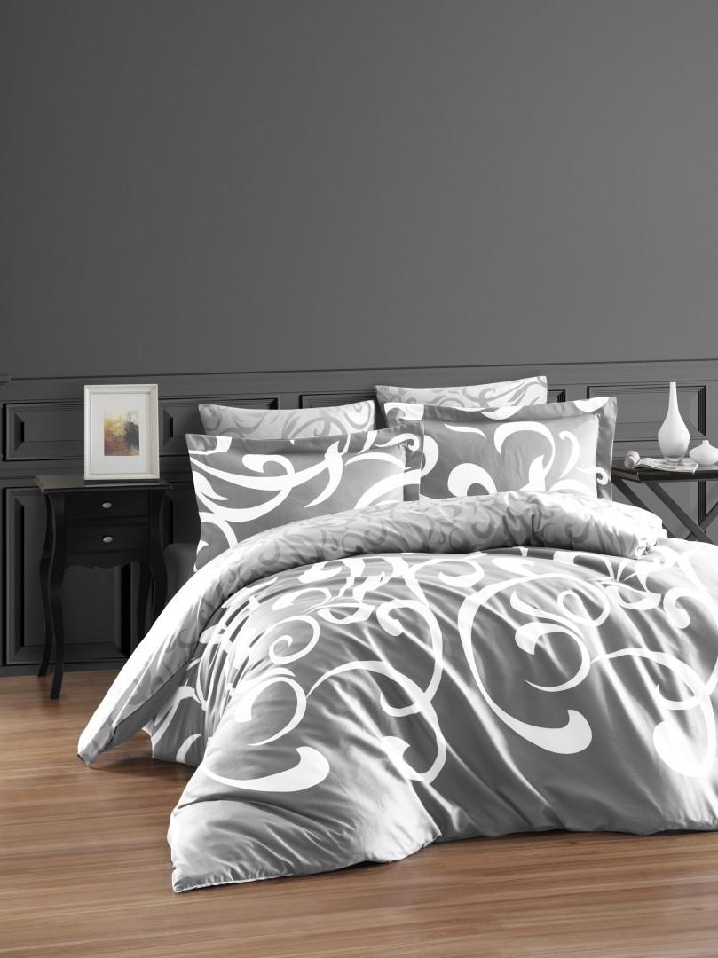 Постільна білизна First Choice 200х220 бавовна сатин люкс Ruya gri