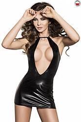 Платье под латекс с глубоким декольте FEMI DRESS black L/XL - Passion Exclusive
