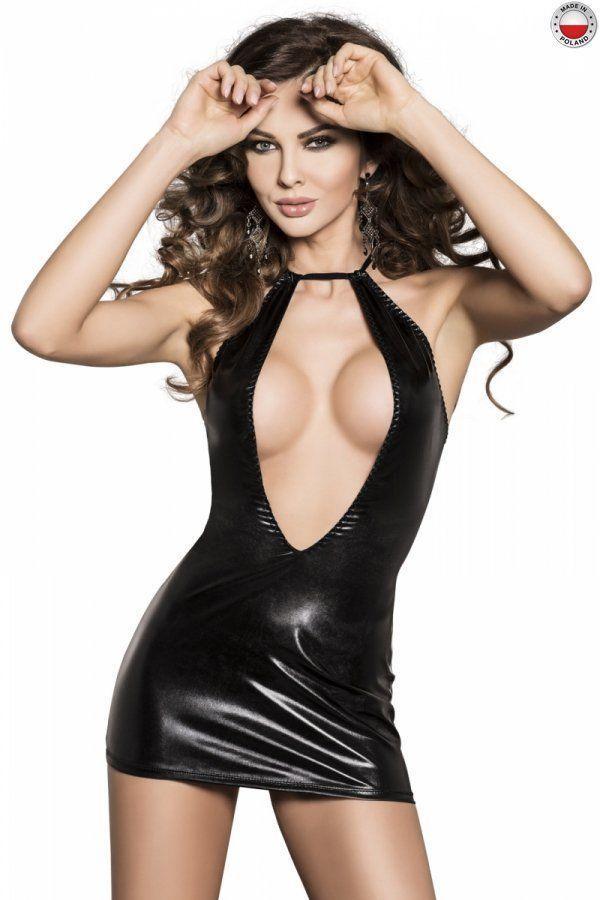 Платье под латекс с глубоким декольте FEMI DRESS black S/M - Passion Exclusive