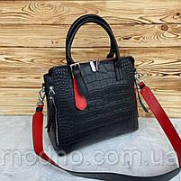 Жіноча шкіряна сумка зі структурою крокодила чорного кольору, фото 5